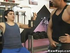 Two latino&039;s have an awesome bareback fuck after training