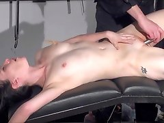 Gagged amateur slaves sextoy domination and spanked blowjob of whipped submissive Faye Corbin in rough sadomaso and brut