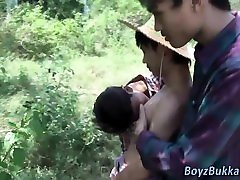 Asian twink cum covered