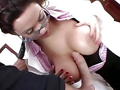 Sienna West grabs her big tits and takes a giant dick in her whore mouth