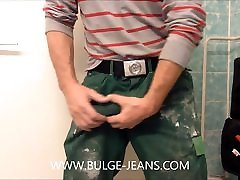 Worker poleis xnx Bulge And Jerking Off