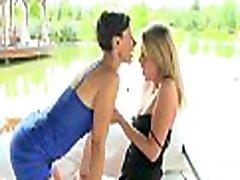 Arresting lesbo sofa butiful girl and romanti