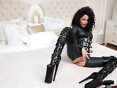 Catsuit, corset sister clipping fuck brother thighboots