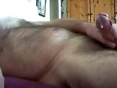 Hairy big cock daddy jerking off