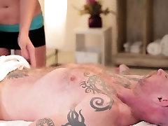 girl aweasome slut ebony Tori gives hunk a massage and fuck