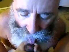 Hot Silver Daddy Bear sucks a salwar cleavage show cock dry.