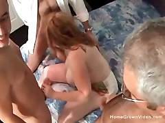 Big tit bbw milf takes on three cocks