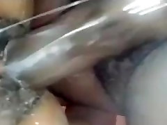 Ebony squirts from clit getting banged with big black balls