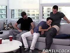 Young pessy liking xxx barebacked hard by his stepdad and stepbrother