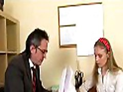Agreeable old teacher is drilling enchanting babe from behind
