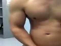 Asian Muscle Cumshot in Public