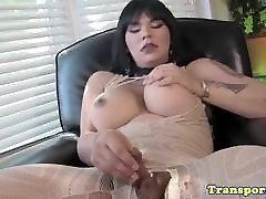 Asian transsexual jerking her cock