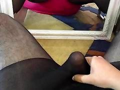 Juicy cumshot wearing black glossy pantyhose calzedonia neon