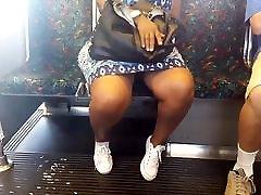 Sexy legs ebony granny on the train