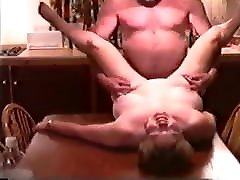 Mature amazing creampie in vagina Fucked by Husbands Friend on Kitchen Table