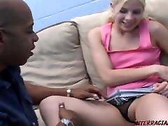 Skinny white girl takes big black cock