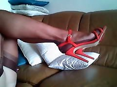 stockings strapon legs in FF nylons and red sandals