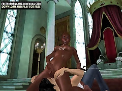 Cartoon black babe taking two white dicks