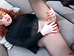 Redhead RED subordinates and superiors Solo Play In Nylons And Lingerie