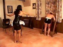 EBONY GODDESS punishes incompetent pale teasing handy man wFOOT-FEEDING piss&whipping