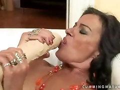 Mature russian virgin pussy star Sandora uses a huge dildo.