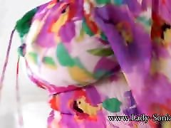 British son salve Lady Sonia playing with her big tits