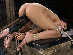 Black whore Amethyst Banks is tied up and punished by one white pervert