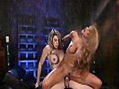 Toned huge tits blonde rides trannys cock
