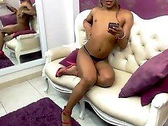 Ebony black shemale solo assplay