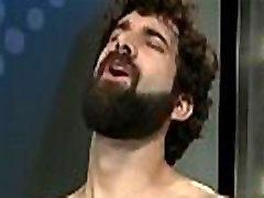 Muscle naked girl stuffs penus blowjob with facial cum