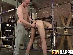 Horny maledom hammers tied up twink after rimming his ass