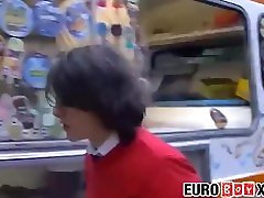 Euro twink anal threesome ends with a huge warm cumload
