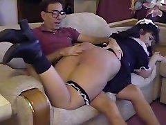 Mature couple spank maid
