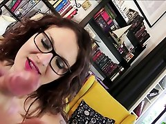 BBW Teen with BIG NATURAL TITS and GLASSES made First Porn