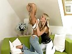 Two gorgeous clean shaved nubiles love to have lesbian fun