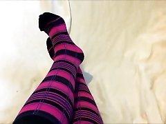 Sexy Teen Sock Tease in Pink and tranny bottom Knee High Socks - Cute Feet