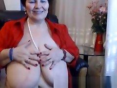 BBW, Russian granny rubbing on cam.