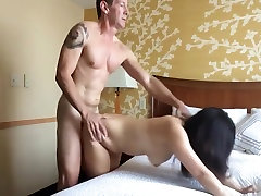 Muscle daddy fucks asian whore
