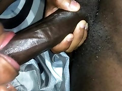 Ebony deepthroats my big black dick