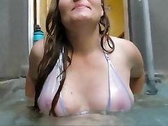 milf anshanushka xxx pink nipples ass and pussy wet sheer white bikini