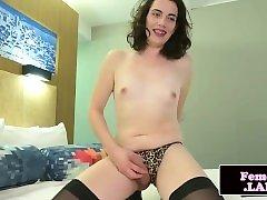 Lingeried amateur femboy wanks her uncut cock