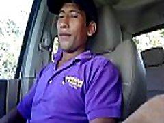 Hidden cam straight latino 28 yo construction worker cums jerking to porn in my truck