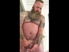 bearded monstr cok bear jerking cock with cumshot