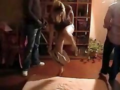 Blonde French wife escuela salon by three black men. Hubby films