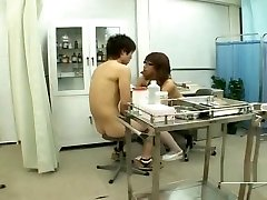 Nudist busty Japan milf nurse treats nude male student
