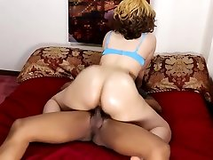 Big booty blonde chick is amazing on hard black cock, perfect bubble butt!