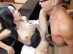 Amazing busty tranny banged hard with a huge meaty cock