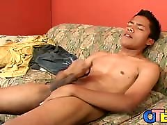 Latino twinky jerks off and until he cums really hard