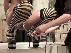 Superb succubus bound and spanked while toying