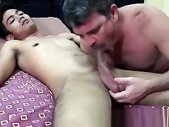 Olderguy cocksucked by asian twink before sex